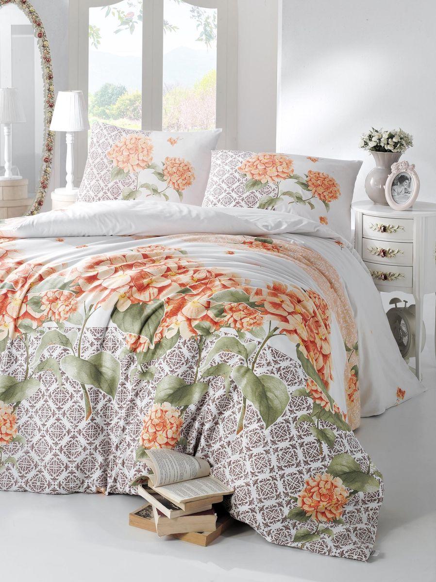 """Комплект белья Altinbasak """"Larin"""", 2-спальный, наволочки 50х70, цвет: оранжевый"""