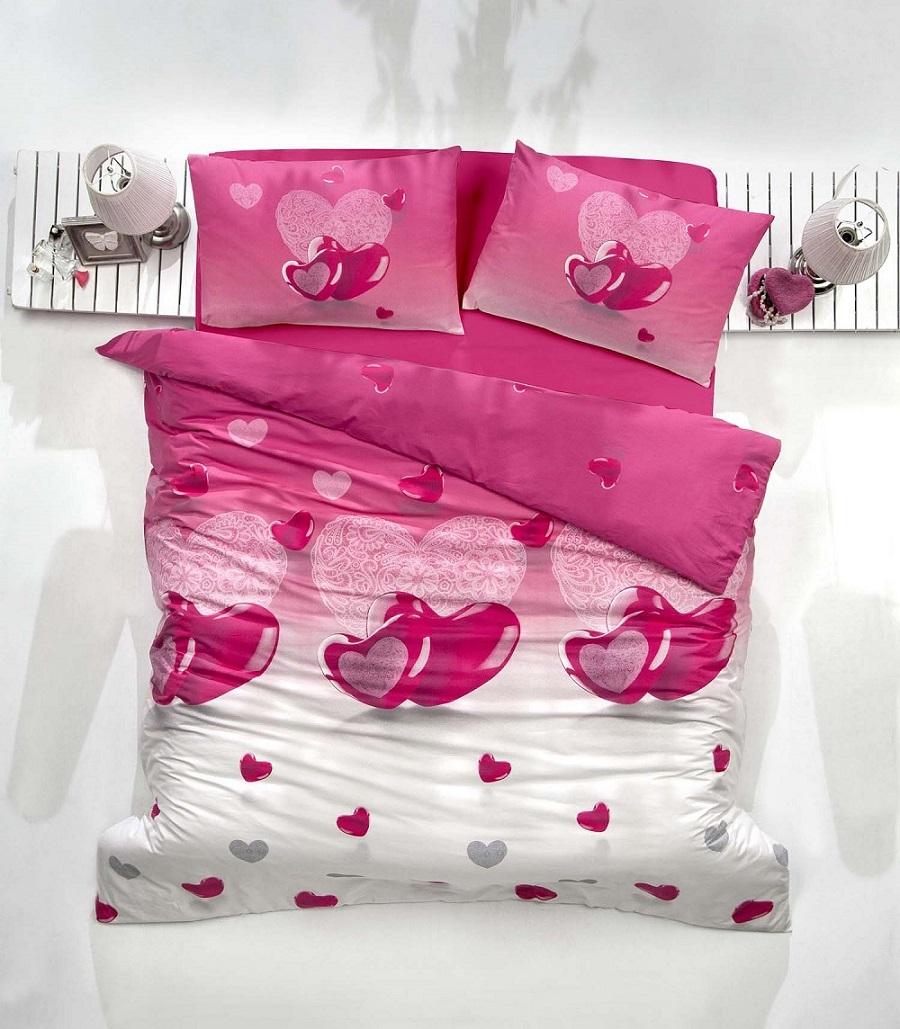 """Комплект белья Altinbasak """"Loveliy"""", 2-спальный, наволочки 50х70, цвет: фуксия"""