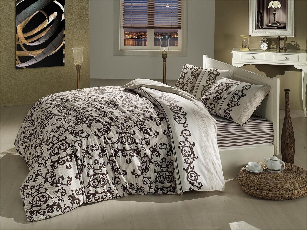 """Комплект белья Altinbasak """"Suave"""", 2-спальный, наволочки 50х70, цвет: коричневый"""