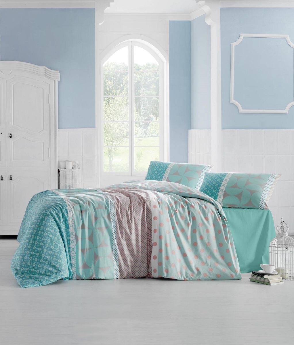 """Комплект белья Altinbasak """"Aleda"""", 2-спальный, наволочки 50 х 70 см, цвет: бирюзовый"""