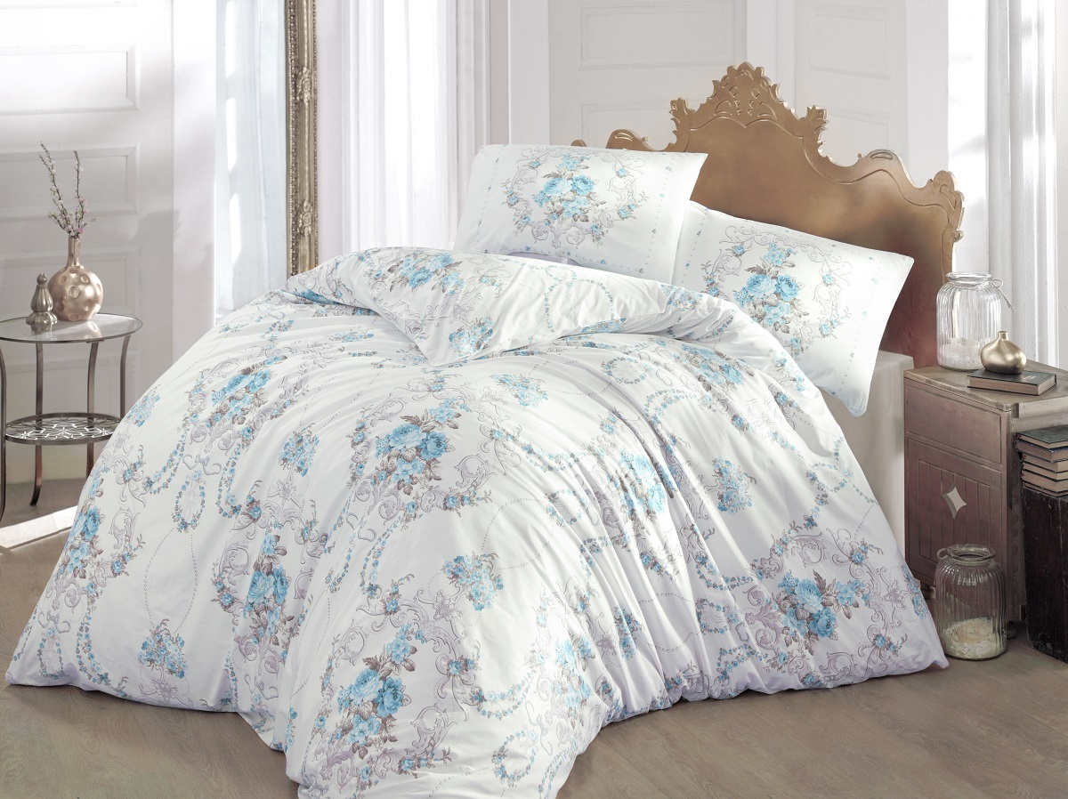Комплект белья Altinbasak Admire, 2-спальный, наволочки 50х70, цвет: бирюзовый297/CHAR001Комплект постельного белья включает в себя четыре предмета: простыню, пододеяльник, две наволочки, выполненные из ранфорса.Ранфорс - 100% хлопковое волокно, для которого характерна высокая плотность. Ткань отличается повышенной прочностью и износостойкостью, не теряет своего вида даже после частых стирок. Отлично подстраивается под температуру окружающей среды, даря зимой тепло, а летом - прохладу. Гипоаллергенен, хорошо пропускает воздух и впитывает влагу. Советы по выбору постельного белья от блогера Ирины Соковых. Статья OZON Гид