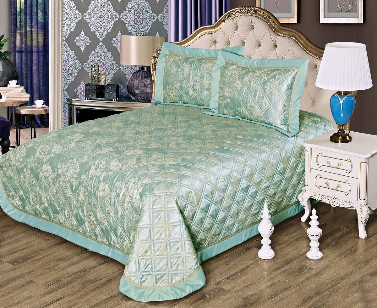 Комплект для спальни Karna Moneta: покрывало 230 х 250 см, 2 наволочки 50 х 70 см, цвет: ментол покрывало karna покрывало evony цвет пудра 240х260 см