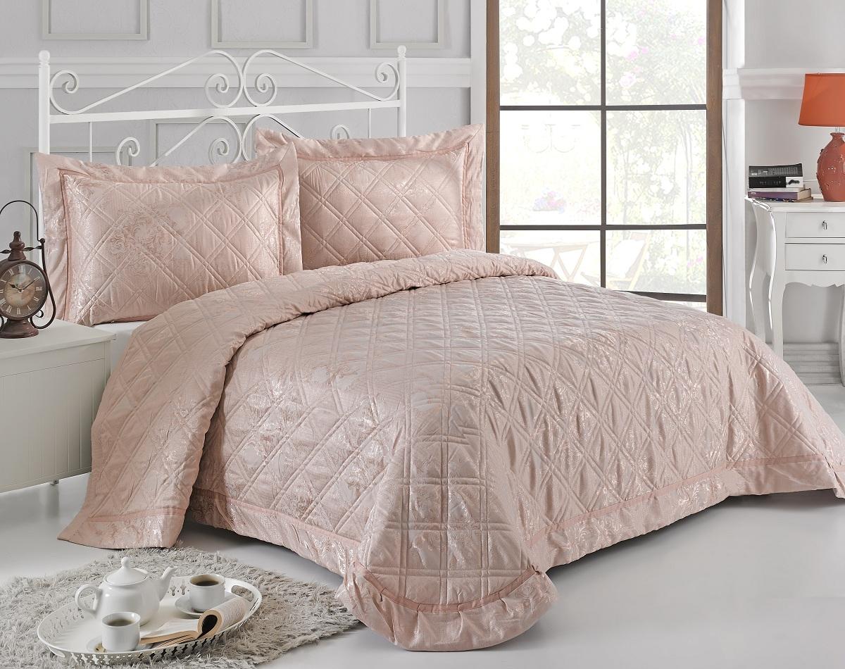 Комплект для спальни Karna Moneta: покрывало 230 х 250 см, 2 наволочки 50 х 70 см, цвет: пудра