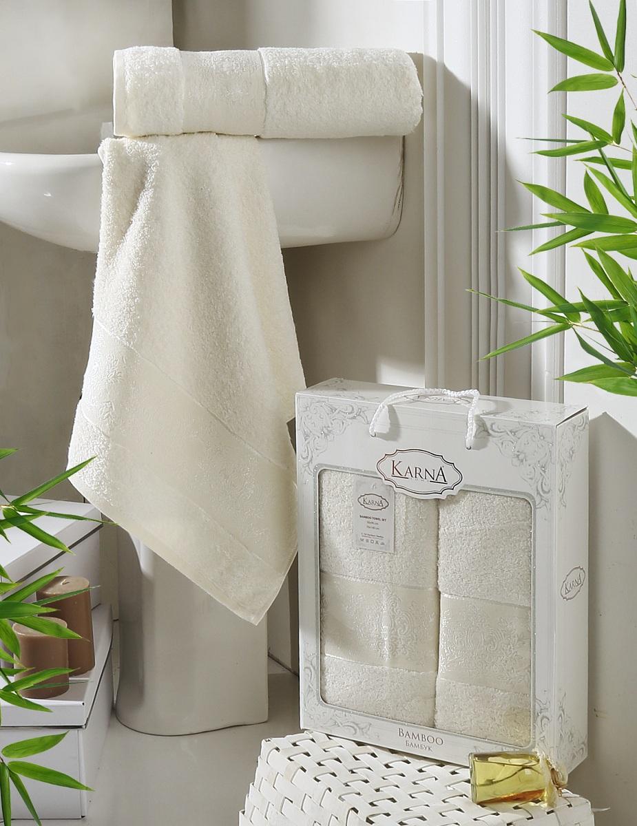 Набор полотенец Karna Pandora, цвет: кремовый, 2 шт2197/CHAR010