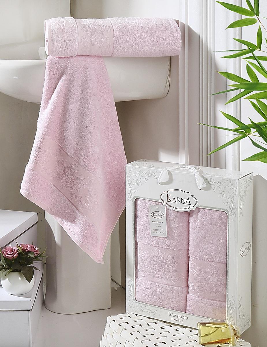 Набор полотенец Karna Pandora, цвет: светло-розовый, 50 х 90 см, 70 х 140 см, 2 шт2197/CHAR014Набор Karna Pandora состоит из 2 махровых полотенец,выполненных из качественного бамбука. Изделия отличновпитывают влагу, быстро сохнут, сохраняют яркость цвета и нетеряют формы даже после многократных стирок.Размер маленького полотенца: 50 х 90 см. Размер большого полотенца: 70 х 140 см. Комплектация: 2 шт.