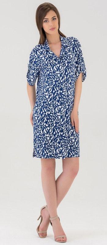 Халат женский Tesoro, цвет: синий. 441Х1. Размер 46441Х1Трикотажный халат из нежной вискозы. Свободного силуэта, чуть выше колена, с коротким рукавом.