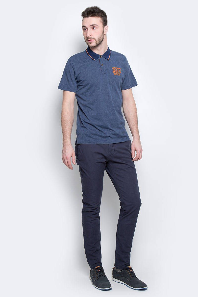 Брюки мужские Tom Tailor, цвет: синий. 6404994.00.10_6752. Размер 36-32 (50/52-32)6404994.00.10_6752Модные мужские брюки Tom Tailor выполнены из высококачественного хлопка с добавлением эластана. Брюки модели slim имеют стандартную талию. Застегиваются на пуговицу в поясе и ширинку на молнии. Имеются шлевки для ремня. Спереди расположены два боковых прорезных кармана и один небольшой прорезной кармашек, а сзади - два прорезных кармана на пуговице. Модель дополнена стильным плетеным ремнем.