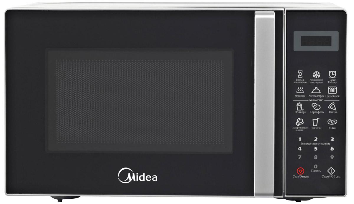 Midea EG820CXX микроволновая печьNN-SD382SZPEКомпактная и надежная микроволновая печь объемом 20 литров сочетает в себе стильный дизайн, высокое качество и интуитивно понятное электронное управление, благодаря чему вы сможете быстро и просто разогреть и приготовить различные блюда. С функцией автоматического размораживания вам не придется подсчитывать необходимое количество времени и мощность для размораживания того или иного продукта, достаточно выбрать специальную программу. Функция автоматического разогрева избавит вас от необходимости делать расчеты, достаточно лишь указать тип продукта и его объем, а микроволновая печь самостоятельно определит необходимую мощность. Кроме того, в этой модели имеются 6 функций автоматического приготовления, в которых наиболее популярные блюда запрограммированы, и достаточно лишь выбрать необходимое блюдо и печь сама установит режим. Со встроенным грилем вы сможете готовить аппетитные блюда с хрустящей корочкой. Камера печи покрыта инновационной разработкой компании Midea - эмалью легкой очистки Smart Clean (Смарт Клин), которая состоит из специального жаропрочного материала, не пропускающего внутрь запекшийся жир и остатки пищи. Поэтому очищать печь можно значительно быстрее и легче! Функция таймера (на 99 минут) и 11 уровней мощности еще больше облегчат процесс приготовления и позволят сэкономить время. Дверца открывается при помощи удобной ручки. Панель управления на русском языке и светодиодный (LED) дисплей помогут быстро и легко приготовить любимые блюда! По окончании процесса приготовления раздается звуковой сигнал. Безопасность в работе обеспечивает защита от включения при открытой дверце, а также защитная блокировка кнопок. В подарок к печи прилагается решетка для гриля и книга рецептов, которая разнообразит ваш стол различными новыми блюдами на любой вкус.