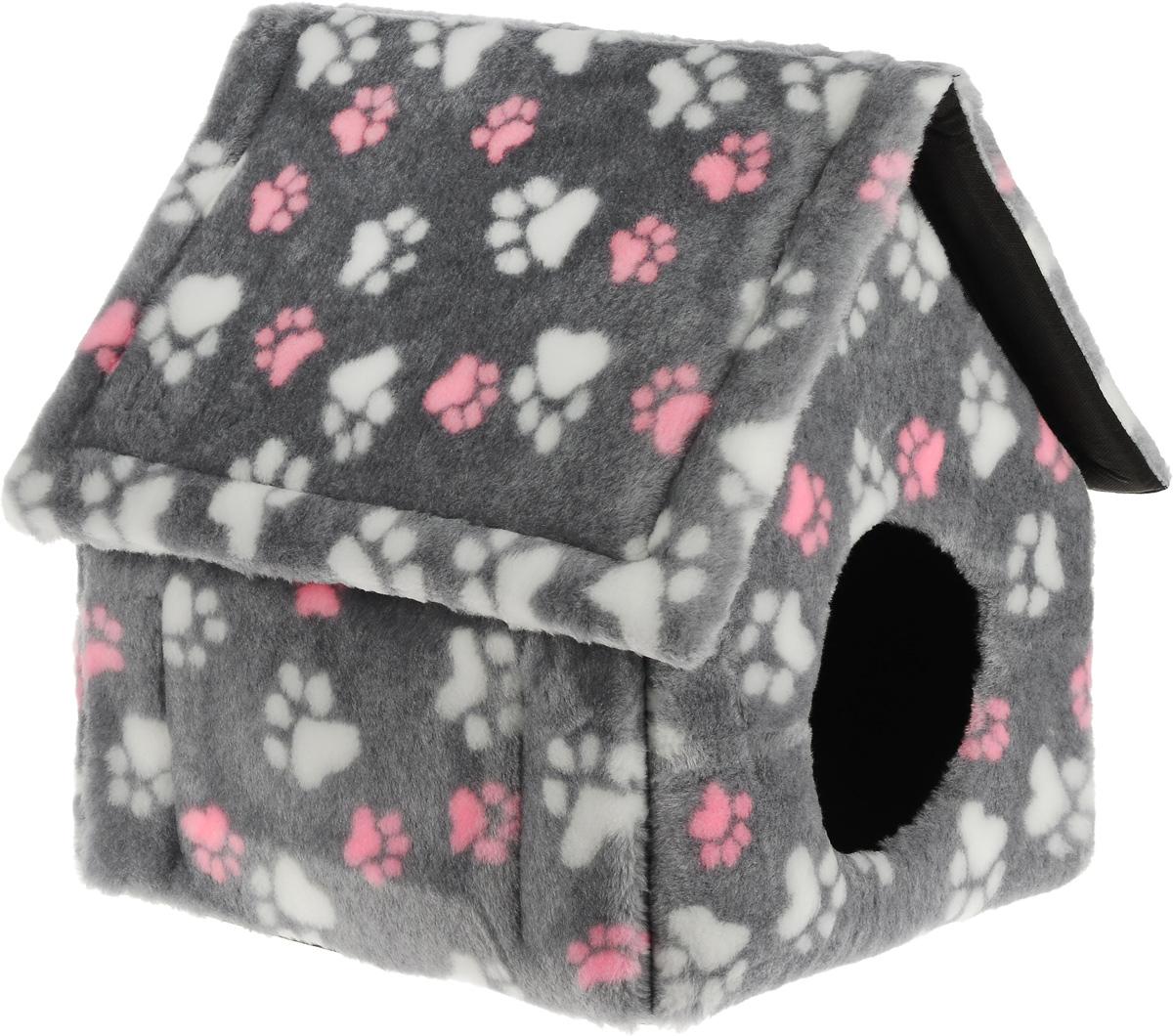 """Домик для животных """"Elite Valley"""", цвет: темно-серый, белый, розовый, 37 х 35 х 45 см"""