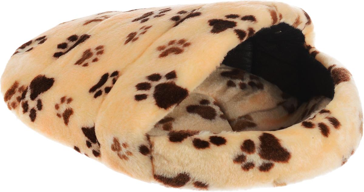 "Лежак для животных Elite Valley ""Тапок"", цвет: бежевый, коричневый, черный, 52 х 38 х 24 см"