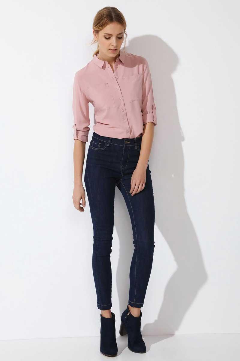 Рубашка женская Top Secret, цвет: коричневый. SKL2249RO. Размер 38 (46)SKL2249ROРубашка женская Top Secret выполнена из 100% вискозы. Модель с отложным воротником застегивается на пуговицы.