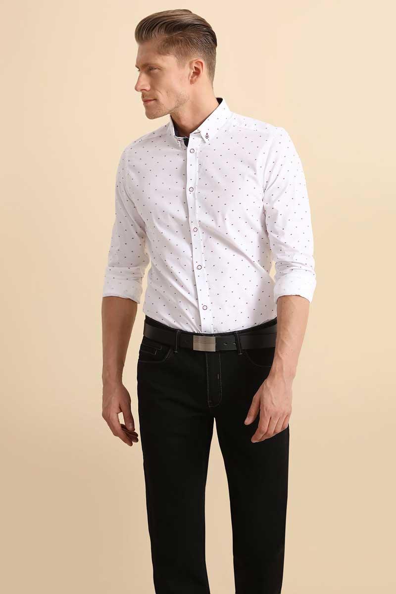 Рубашка мужская Top Secret, цвет: белый. SKL2252BI. Размер 40/41 (48)SKL2252BIРубашка мужская Top Secret выполнена из 100% хлопка. Модель с отложным воротником и длинными рукавами.