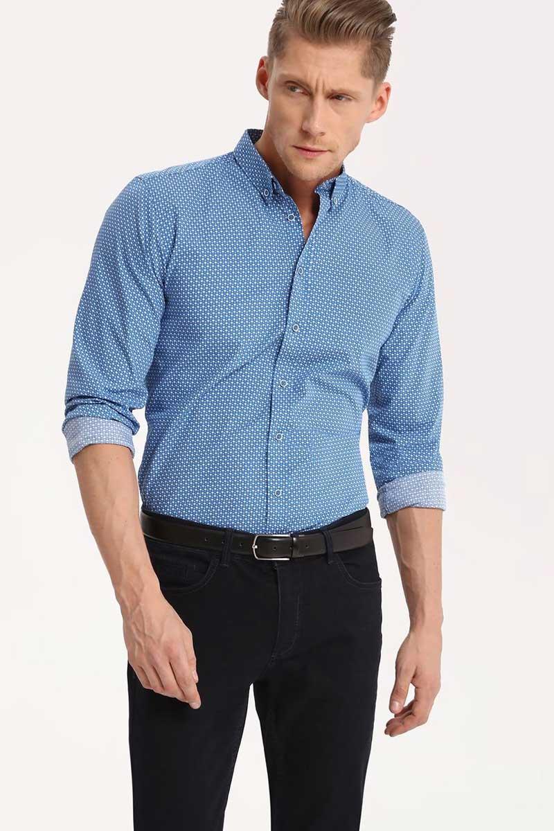 Рубашка мужская Top Secret, цвет: синий. SKL2290NI. Размер 42/43 (50)SKL2290NIРубашка мужская Top Secret выполнена из 100% хлопка. Модель с отложным воротником и длинными рукавами застегивается на пуговицы.