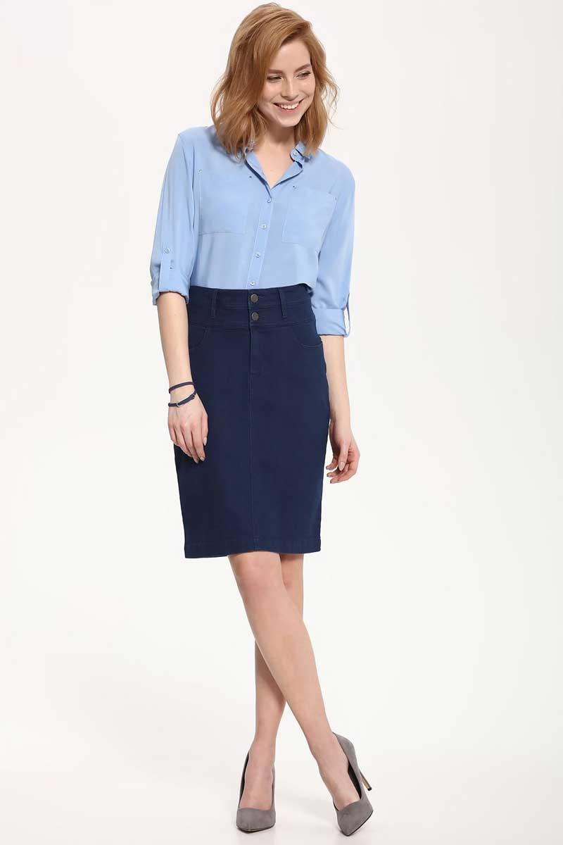 Рубашка женская Top Secret, цвет: голубой. SKL2237NI. Размер 40 (48)SKL2237NIРубашка женская Top Secret выполнена из 100% вискозы. Модель с отложным воротником застегивается на пуговицы.