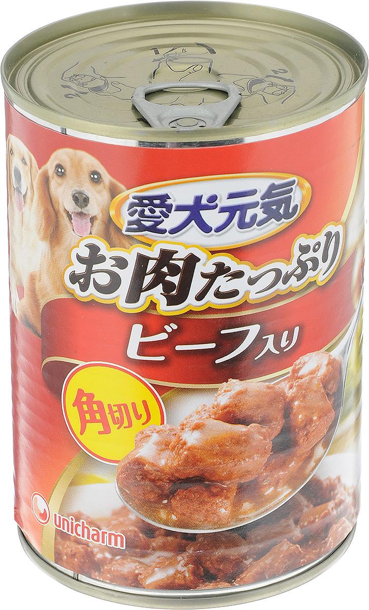 Консервы для собак Unicharm Aiken Genki, с говяжьим гуляшом, 400 г671139Консервы для собак Unicharm Aiken Genki - это сбалансированное высококачественное питание для собак. Аппетитные сочные кусочки говядины и овощей в тающем соусе произведены с сохранением всех свойств натуральных продуктов, содержат комплекс питательных веществ и микроэлементов, необходимых для полноценного развития вашего четвероногого друга. Корм полностью удовлетворяет ежедневные энергетические потребности взрослого животного и обеспечивает оптимальное функционирование пищеварительной системы.Состав: курица, говядина, куриный экстракт, морковь, картофель, зеленый горошек, пшеничная мука, приправа, глюкоза, ксилоза, витамины и минералы (В1, В2, В6, D, E, кальций, хлор, калий, натрий, фосфор), стабилизатор (гуаровая камедь), консервант (нитрит натрия), красители (диоксид титана, оксид железа).Пищевая ценность (на 100 г): белки - 5%, липиды - 4%, клетчатка - 1,5%, зола - 4%, влажность - 85%, энергетическая ценность 95 ккал.Товар сертифицирован.