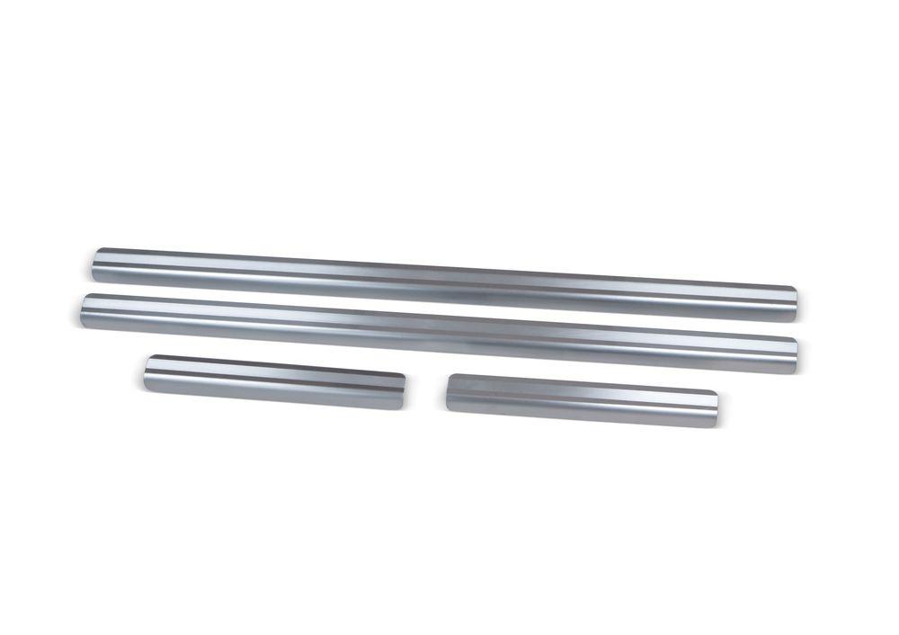 Накладки порогов Rival, для Chevrolet Niva 2015-, нержавеющая сталь, с надписью, 4 шт. NP.1004.3 чехол на сиденье skyway chevrolet niva ch1 1