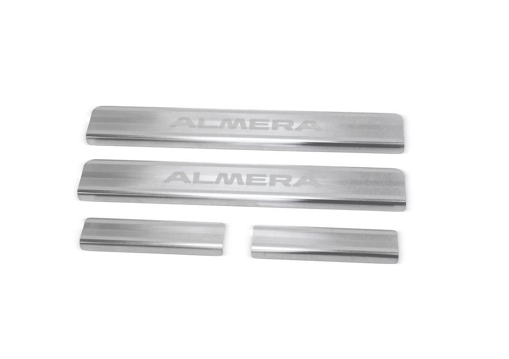 Накладки на пороги Rival, для Nissan Almera 2013-, 4 штNP.4104.3Накладка на пороги Rival защищают лакокрасочное покрытие от механических повреждений и создают индивидуальный внешний вид автомобиля.- Накладки изготовлены из высококачественной итальянской нержавеющей стали AISI 304.- Надежная фиксация на автомобиле с помощью фирменного скотча 3М.- Устойчивое к истиранию изображение на накладках нанесено методом абразивной полировки- Идеально повторяют геометрию порогов автомобиля.Уважаемые клиенты!Обращаем ваше внимание, что накладка имеет форму и комплектацию, соответствующую модели данного автомобиля. Фото служит для визуального восприятия товара.