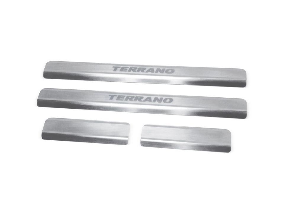 Накладки на пороги Rival, для Nissan Terrano 2014-, 4 штNP.4115.3Накладка на пороги Rival защищают лакокрасочное покрытие от механических повреждений и создают индивидуальный внешний вид автомобиля.- Накладки изготовлены из высококачественной итальянской нержавеющей стали AISI 304.- Надежная фиксация на автомобиле с помощью фирменного скотча 3М.- Устойчивое к истиранию изображение на накладках нанесено методом абразивной полировки- Идеально повторяют геометрию порогов автомобиля.Уважаемые клиенты!Обращаем ваше внимание, что накладка имеет форму и комплектацию, соответствующую модели данного автомобиля. Фото служит для визуального восприятия товара.