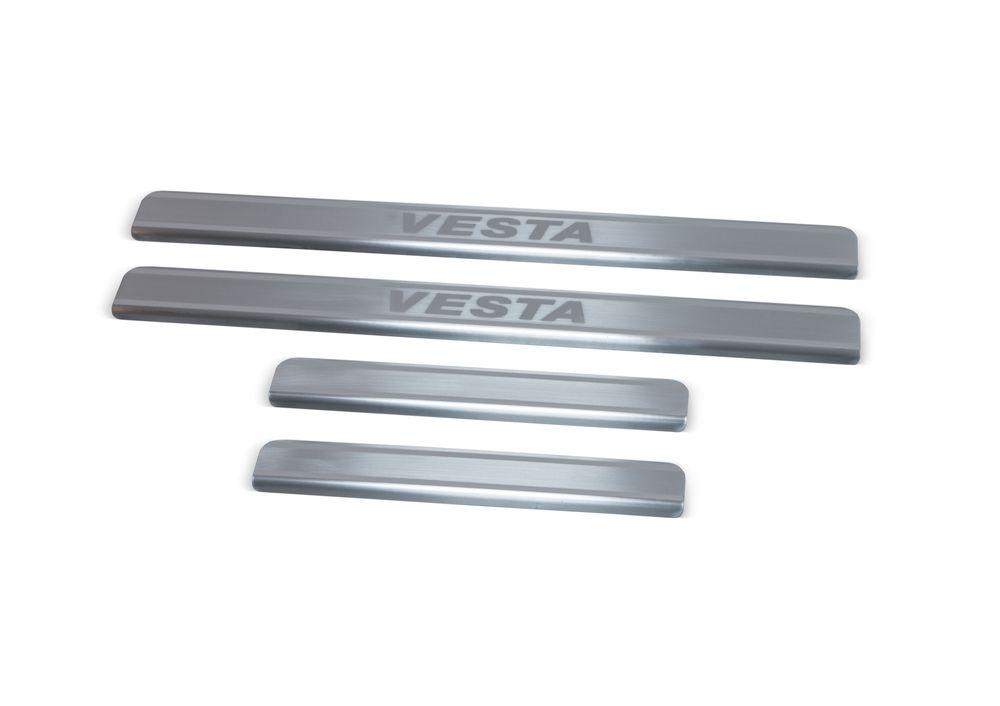 Накладки на пороги Rival, для Lada Vesta 2015-, 4 штNP.6007.3Накладка на пороги Rival защищают лакокрасочное покрытие от механических повреждений и создают индивидуальный внешний вид автомобиля.- Накладки изготовлены из высококачественной итальянской нержавеющей стали AISI 304.- Надежная фиксация на автомобиле с помощью фирменного скотча 3М.- Устойчивое к истиранию изображение на накладках нанесено методом абразивной полировки- Идеально повторяют геометрию порогов автомобиля.Уважаемые клиенты!Обращаем ваше внимание, что накладка имеет форму и комплектацию, соответствующую модели данного автомобиля. Фото служит для визуального восприятия товара.