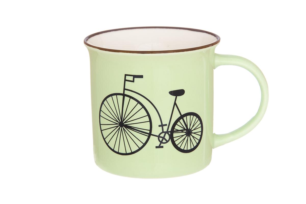 Кружка Elan Gallery Велосипед, цвет: салатовый, 210 мл