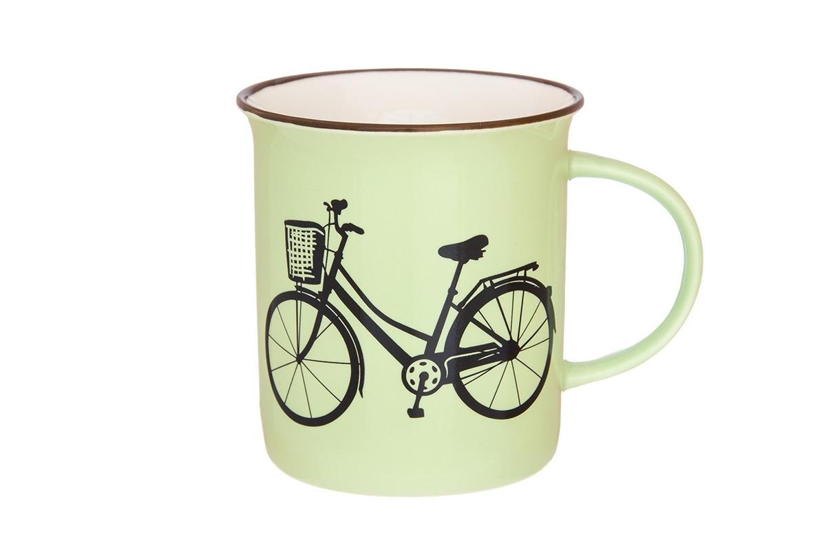 Кружка Elan Gallery Велосипед, цвет: салатовый, 320 мл