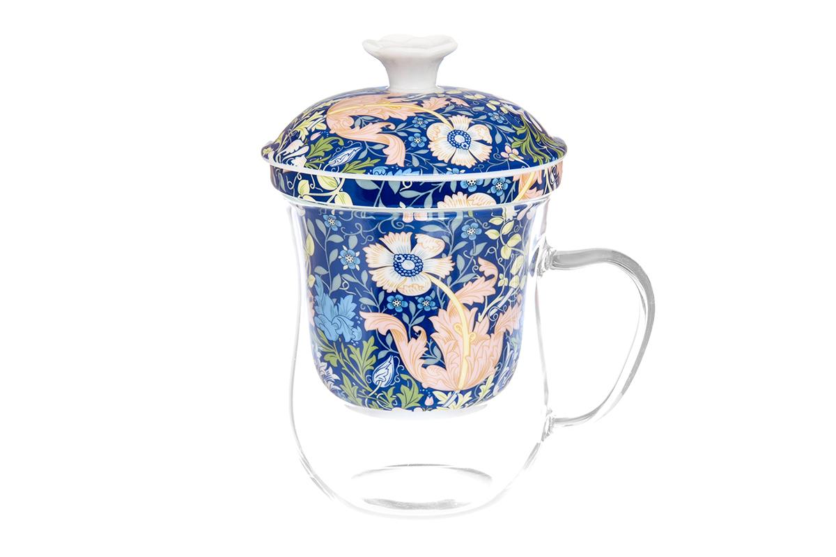 Кружка Elan Gallery New Bone China. Дивный мак, с ситом, 400 мл420124Кружка из стекла для заваривания чая. В комплекте кружка, крышка, фарфоровое сито. Изделие имеет подарочную упаковку, поэтому станет желанным подарком для Ваших близких! Не рекомендуется применять абразивные моющие средства.Объем кружки: 400 мл.
