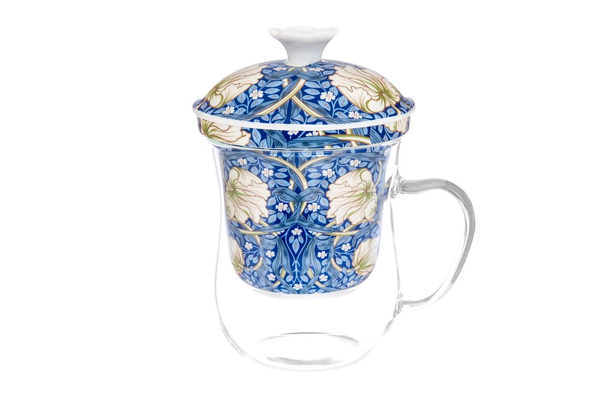 Кружка Elan Gallery New Bone China. Цветы, с ситом, 400 мл420125Кружка из стекла для заваривания чая. В комплекте кружка, крышка, фарфоровое сито. Изделие имеет подарочную упаковку, поэтому станет желанным подарком для Ваших близких! Не рекомендуется применять абразивные моющие средства.Объем кружки: 400 мл.