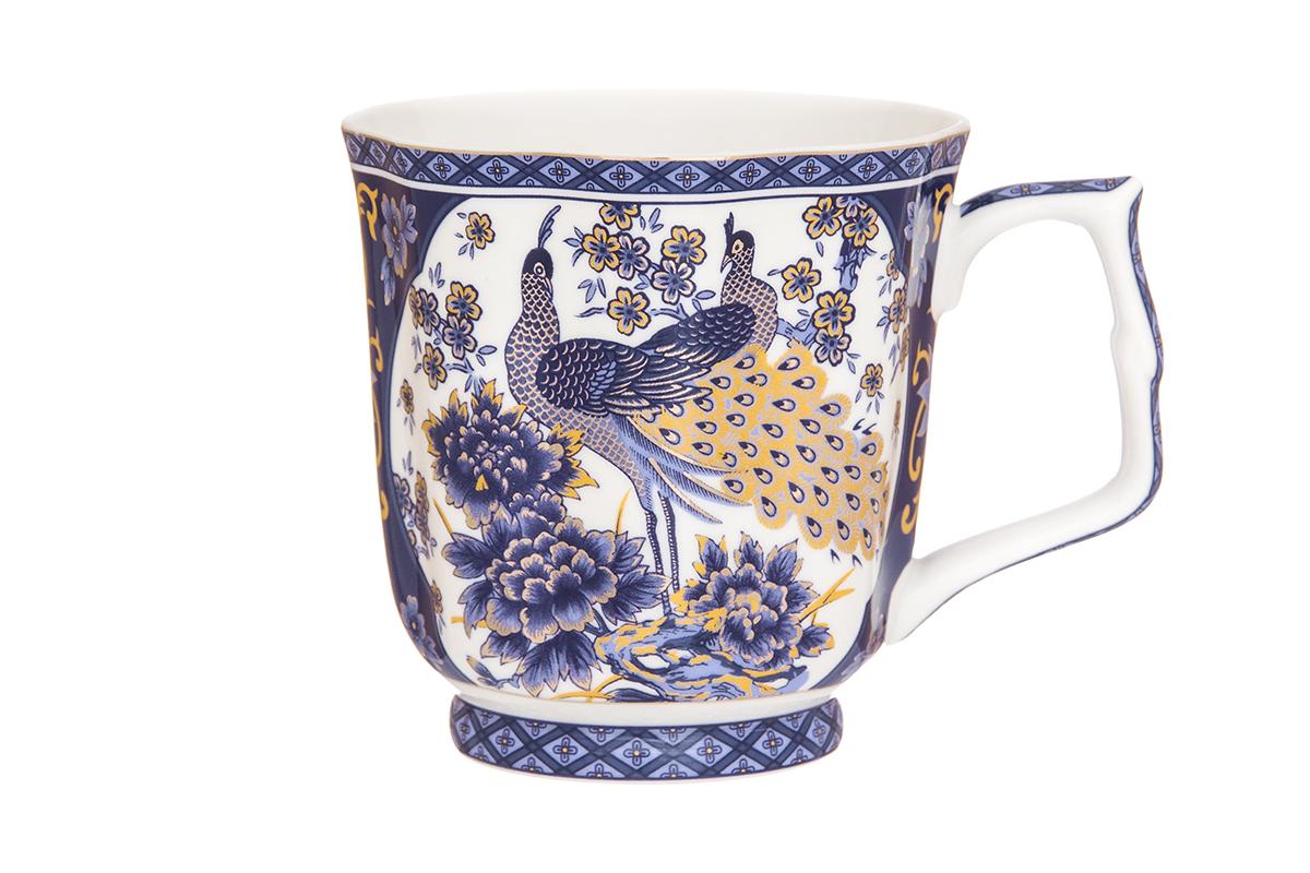 Кружка Elan Gallery Павлин, цвет: синий, 340 мл