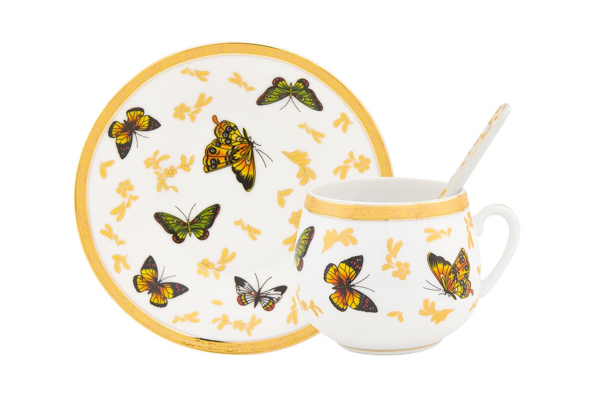 Пара кофейная Elan Gallery Бабочки, с ложкой, 130 мл730282Кофейный набор на 1 персону понравится любителям кофе. В комплекте 1 чашка объемом 130 мл, 1 блюдце и ложка. Соберите всю коллекцию предметов сервировки Бабочки и Ваши гости будут в восторге! Изделие имеет подарочную упаковку, поэтому станет желанным подарком для Ваших близких!