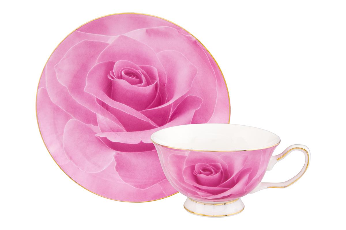 Чайная пара Elan Gallery Роза, цвет: розовый, 2 предмета730605Шикарная чайная пара на одну персону - это отличный подарок, подходящий для любого повода. В комплекте одна чашка на ножке объемом 200 мл, одно блюдце. Изделие имеет подарочную упаковку, поэтому станет желанным подарком для ваших близких!