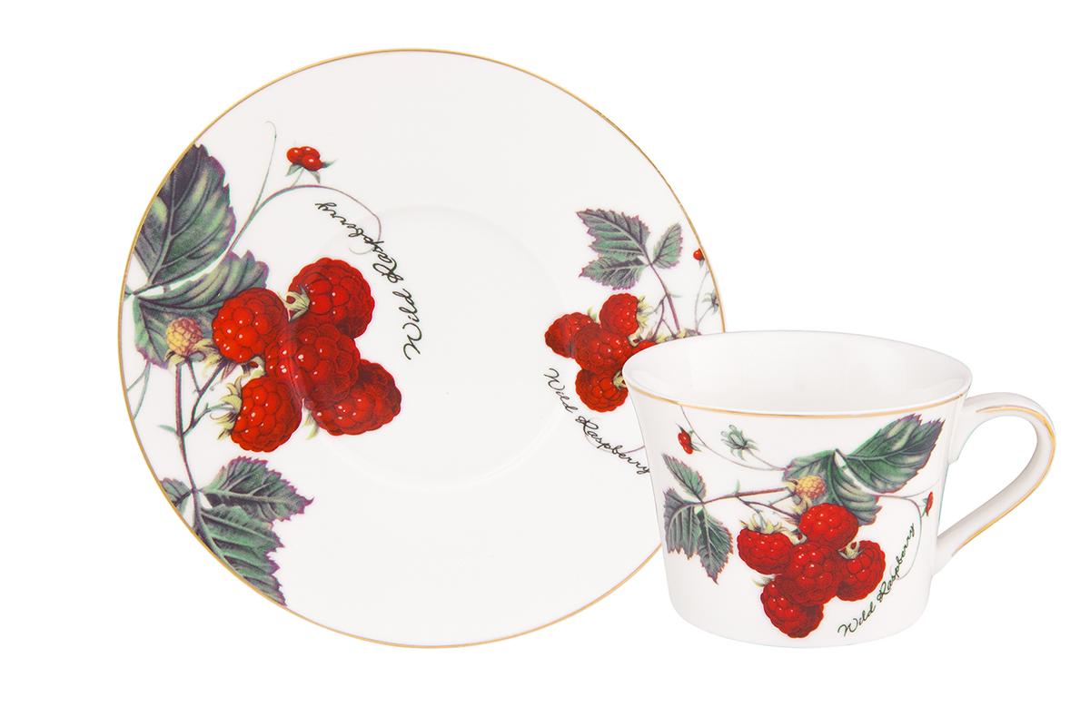 Чайная пара Elan Gallery Ягода-малина, 2 предмета чайная пара elan gallery бархатный нектар цвет бежевый розовый 2 предмета