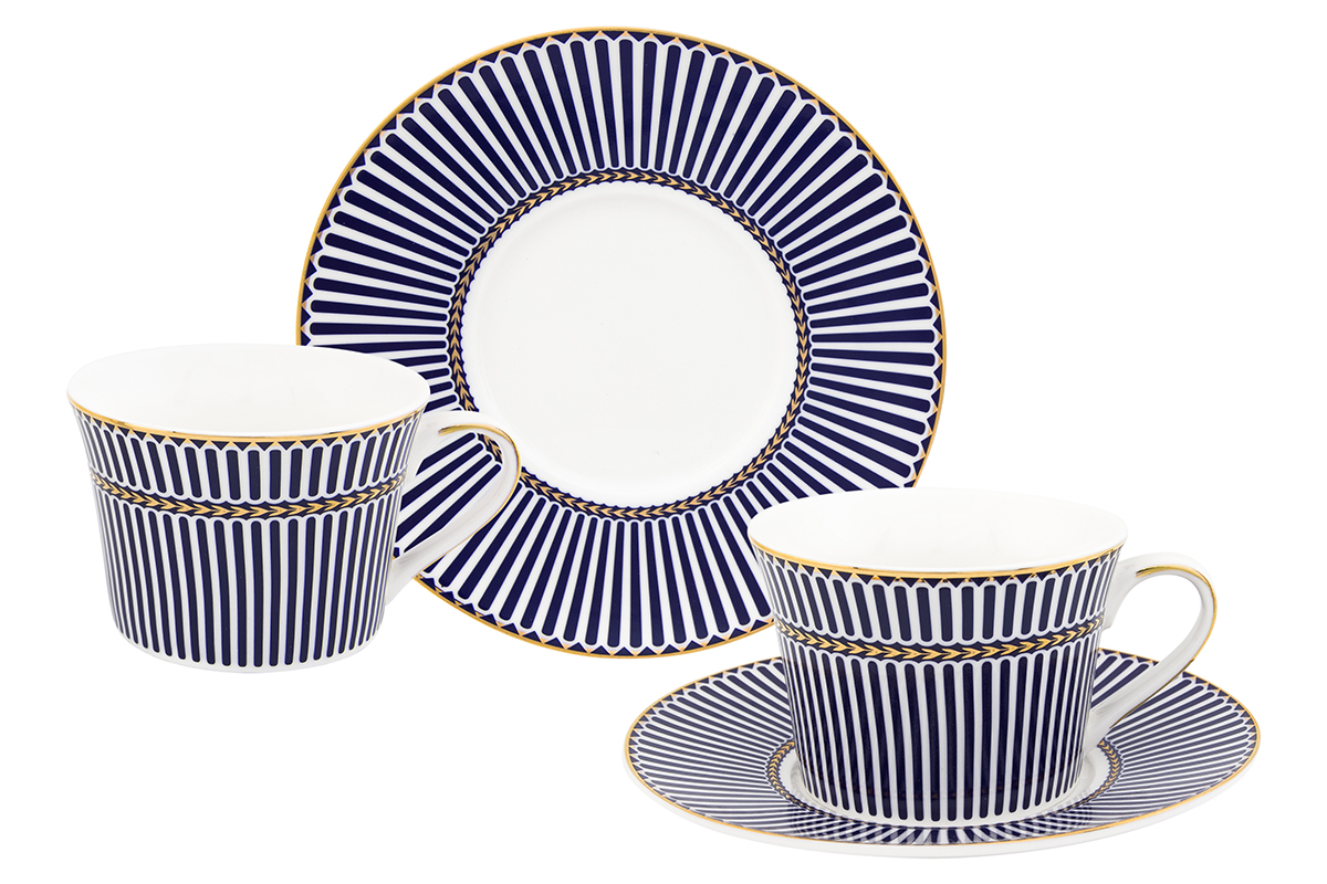 Набор чайный Elan Gallery Полоски, 4 предмета730612Чайный набор Elan Gallery Полоски состоит из 2 чашек, 2 блюдец, изготовленных из высококачественного фарфора. Предметы набора декорированы полосатым изображением.Чайный набор Elan Gallery Полоски украсит ваш кухонный стол, а также станет замечательным подарком друзьям и близким.Изделие упаковано в подарочную коробку с атласной подложкой. Не рекомендуется применять абразивные моющие средства. Не использовать в микроволновой печи.Объем чашки: 210 мл.