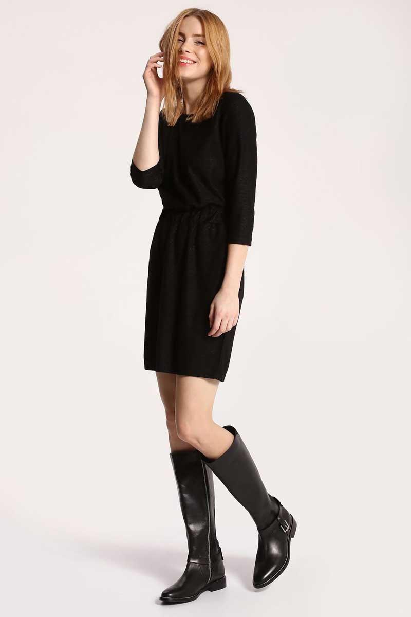 Платье Top Secret, цвет: черный. SSU1761CA. Размер 38 (46)SSU1761CAПлатье Top Secret выполнено из вискозы и полиэстера. Модель с круглым вырезом горловины и рукавами 3/4.
