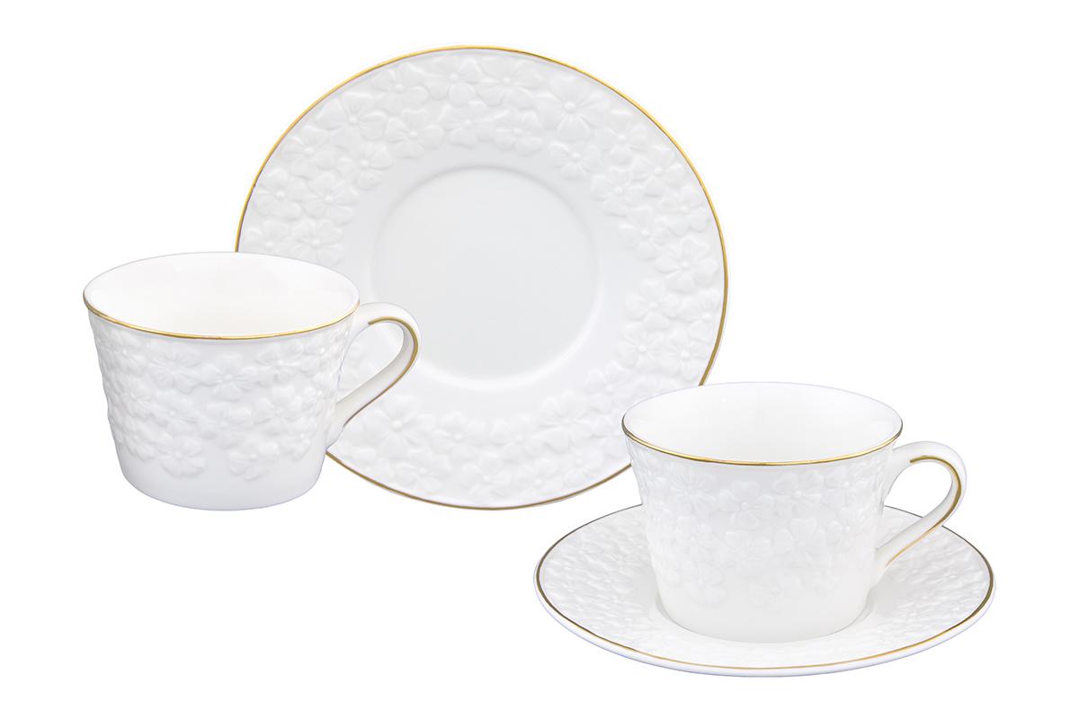 """Набор чайный Elan Gallery """"Белоснежные цветы"""", 4 предмета"""