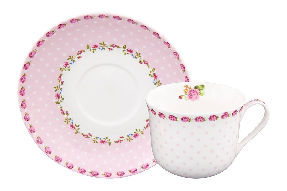 Чайная пара Elan Gallery Горошек с розами, цвет: розовый, 2 предмета730620Чайная пара на одну персону в нежных тонах украсит ваше чаепитие. В комплекте одна чашка на ножке объемом 400 мл и одно блюдце.Изделие имеет прозрачную подарочную упаковку с бантиком, поэтому станет желанным подарком для ваших близких, коллег и друзей!