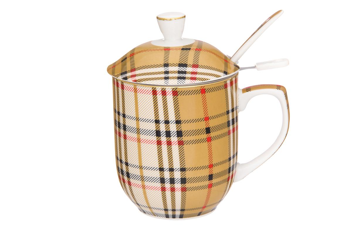 Кружка Elan Gallery Клетка, с ложкой и ситом, 320 мл730669Классическая кружка для заваривания чая. В комплекте кружка, ложка, крышка, металлическое сито. Изделие имеет подарочную упаковку, поэтому станет желанным подарком для Ваших близких! Объем кружки: 320 мл.