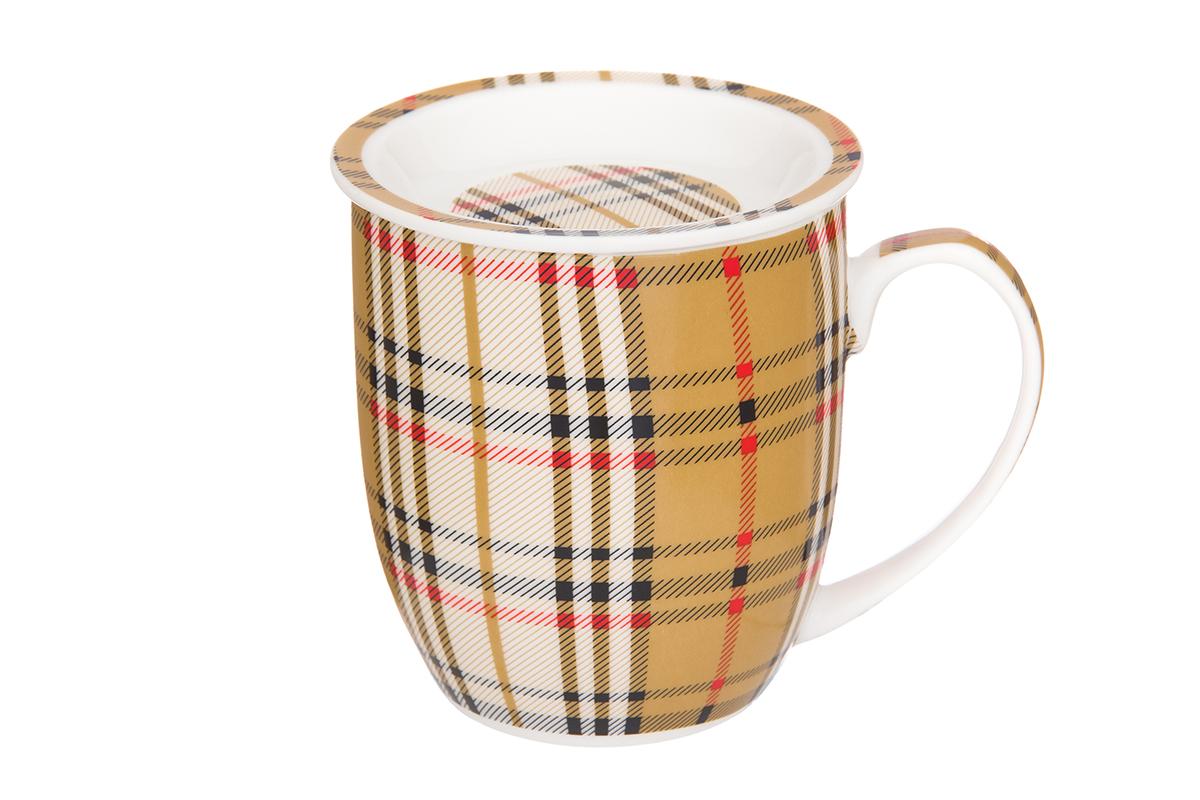 Кружка Elan Gallery Клетка, с розеткой, 380 мл730673Классическая кружка для заваривания чая. В комплекте кружка, ложка, крышка, металлическое сито. Изделие имеет подарочную упаковку, поэтому станет желанным подарком для Ваших близких! Объем кружка: 320 мл.
