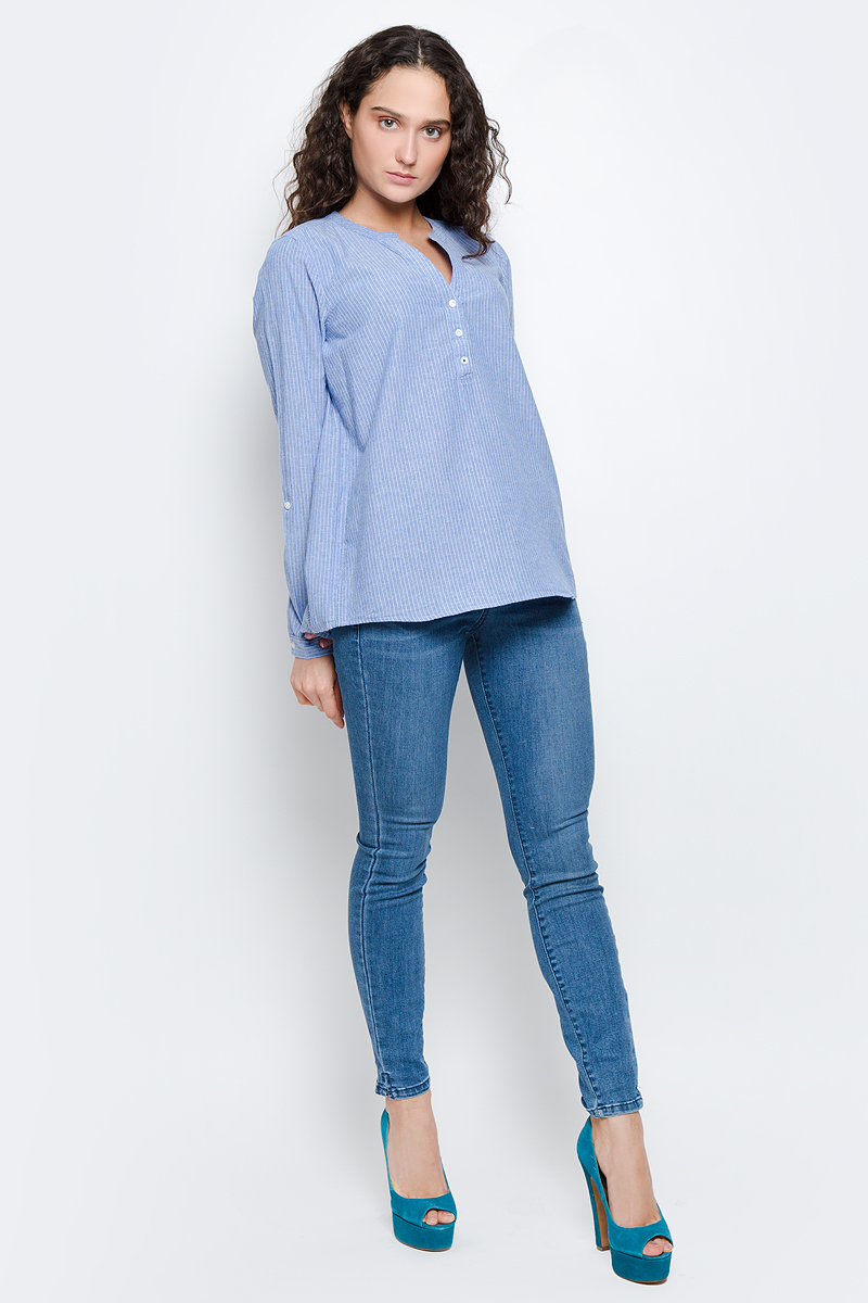 Рубашка женская Tom Tailor Denim, цвет: голубой. 2032927.09.71_6918. Размер S (44) юбка tom tailor denim цвет темно синий белый 5513419 09 71 6593 размер s 44