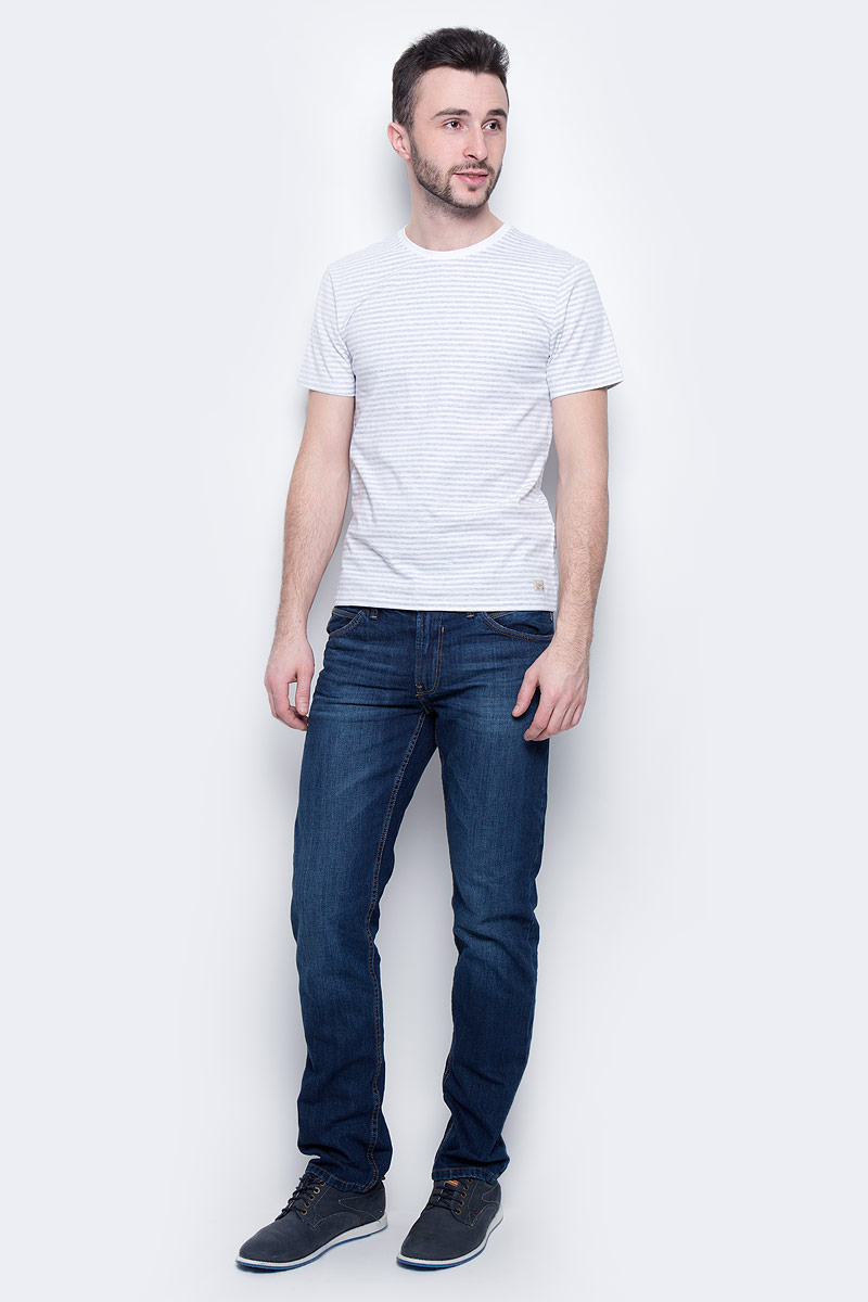 Футболка мужская Baon, цвет: светло-серый, белый. B737301. Размер XXL (54) водолазка мужская baon цвет синий b727502 baltic blue melange размер xxl 54