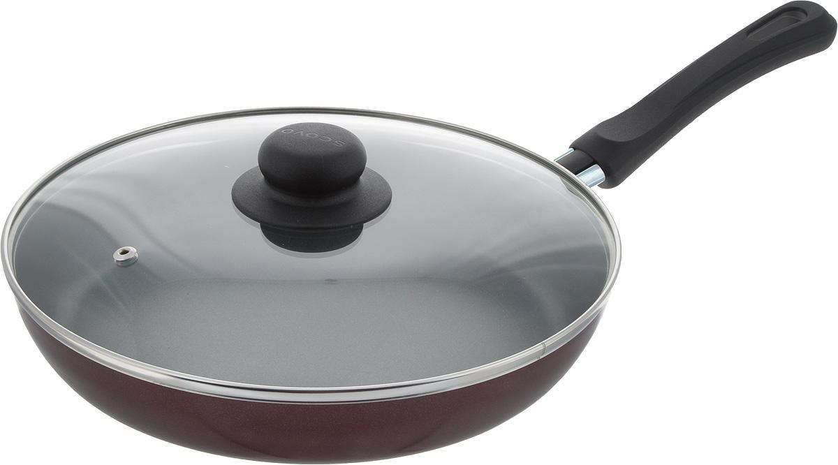 Сковорода Scovo Expert, с крышкой, с антипригарным покрытием. Диаметр 26 смСЭ-029Сковорода Scovo Expert выполнена из алюминия с антипригарным покрытием. Такое покрытие исключает прилипание и пригорание пищи к поверхности посуды, обеспечивает легкость мытья посуды, исключает необходимость использования большого количества масла, что способствует приготовлению здоровой пищи с пониженной калорийностью.Сковорода оснащена крышкой и удобной пластиковой ручкой. Крышка, выполненная из термостойкого стекла, позволяет следить за процессом приготовления, не открывая ее. Специальное отверстие для выхода пара предотвращает выкипание.Сковорода подходит для газовых, электрических и стеклокерамических плит. Также ее можно мыть в посудомоечной машине. Диаметр сковороды (по верхнему краю): 26 см.Длина ручки: 17,5 см.Высота стенки: 4 см.