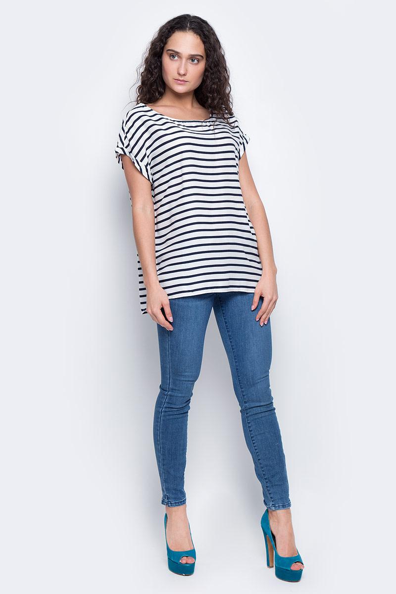 футболка женская tom tailor denim цвет белый черный 1036790 09 71 8005 размер xl 50 Блузка женская Tom Tailor Denim, цвет: белый, темно-синий. 2032918.09.71_8005. Размер XL (50)