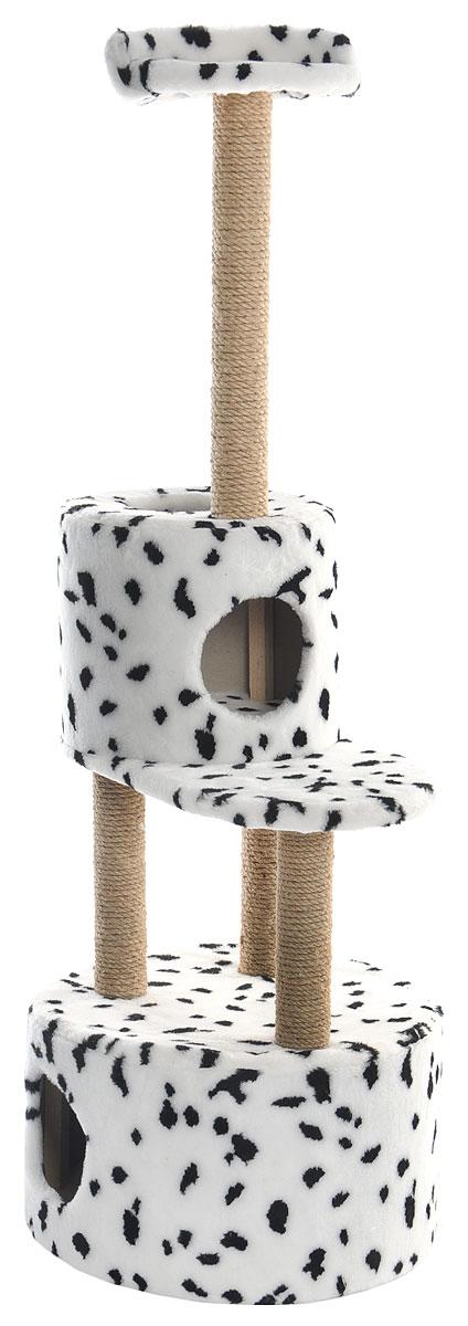 Домик-когтеточка Меридиан, круглый, с площадкой и полкой, цвет: белый, черный, бежевый, 55 х 50 х 147 смД551ДДомик-когтеточка Меридиан выполнен из высококачественных материалов.Изделие предназначено для кошек. Оно включает в себя 2 домика разных размеров и 2 полки. Изделие обтянуто искусственным мехом, а столбики изготовлены из джута. Ваш домашний питомец будет с удовольствием точить когти о специальные столбики. Места хватит для нескольких питомцев. Домик-когтеточка Меридиан принесет пользу не только вашему питомцу, но и вам, так как он сохранит мебель от когтей и шерсти.Общий размер: 55 х 50 х 147 см. Размер большого домика: 50 х 50 х 29 см.Размер малого домика: 33 х 33 х 29 см.Размер нижней полки: 55 х 34 см.Размер верхней полки: 27 х 27 см.