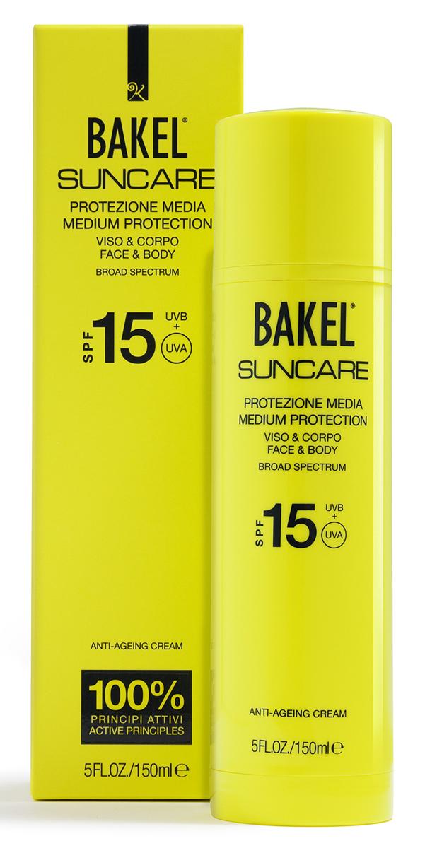 BakelКрем солнцезащитный антивозрастной для лица и тела SPF15 150 млBTSUNVC15Солнцезащитный крем для лица и тела. Содержит уникальный комплекс активных ингредиентов, защищающих кожу от фотостарения и воздействия свободных радикалов, а также улучшающих тонус кожи и повышающих ее эластичность. Растительные масла глубоко питают кожу и снижают вредное влияние окислительных процессов, активизирующихся под воздействием солнечных лучей. Гамамелис и ромашка оказывают смягчающее действие и препятствуют ожогам и покраснениям. Крем подходит для всех типов кожи.