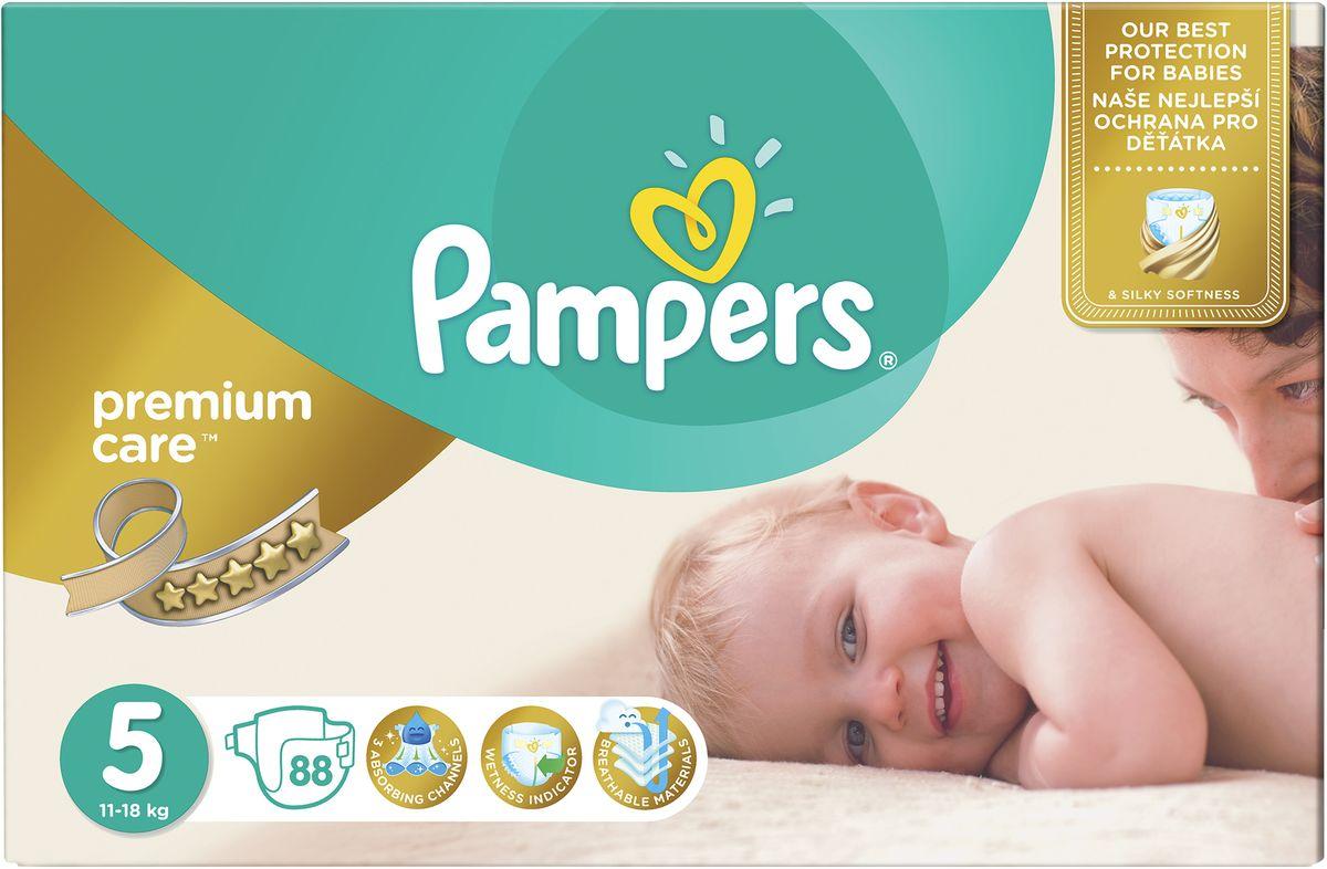 Pampers Подгузники Premium Care 11-18 кг (размер 5) 88 шт - Подгузники и пеленки