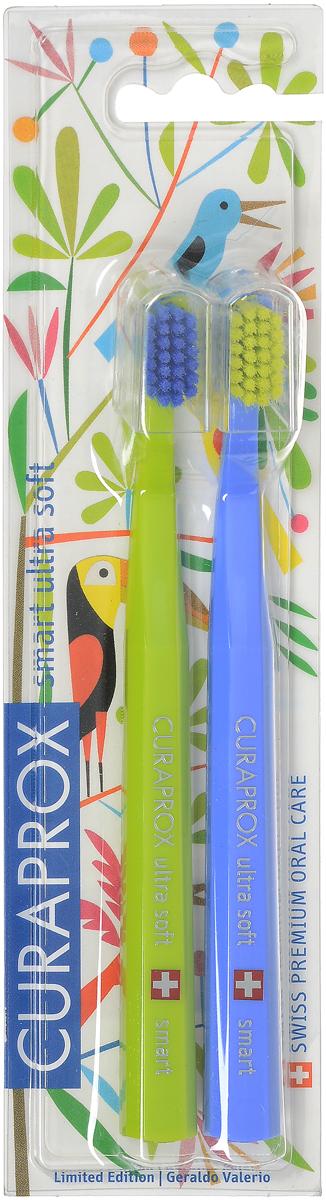 Curaprox CS smart/2 Duo Jungle Набор детских зубных щеток Curaprox CS smart ultra soft. цвет: салатовый, синий. 2 штCS smart/2 Duo Jungle_салатовый , синийCuraprox CS smart/2 Duo Jungle Набор детских зубных щеток Curaprox CS smart ultra soft. цвет: салатовый, синий. 2 шт