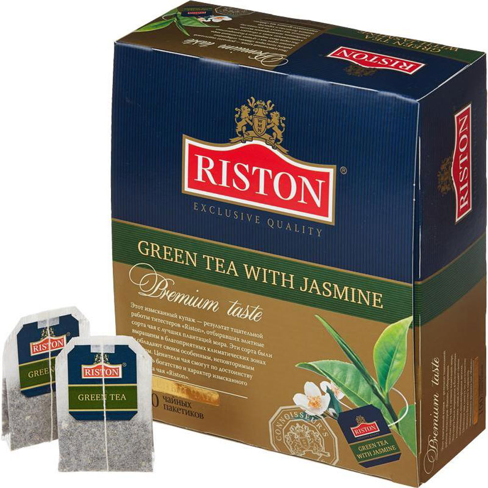 Riston Зеленый чай с жасмином в пакетиках, 100 шт riston файнест цейлон черный чай в пакетиках 100 шт