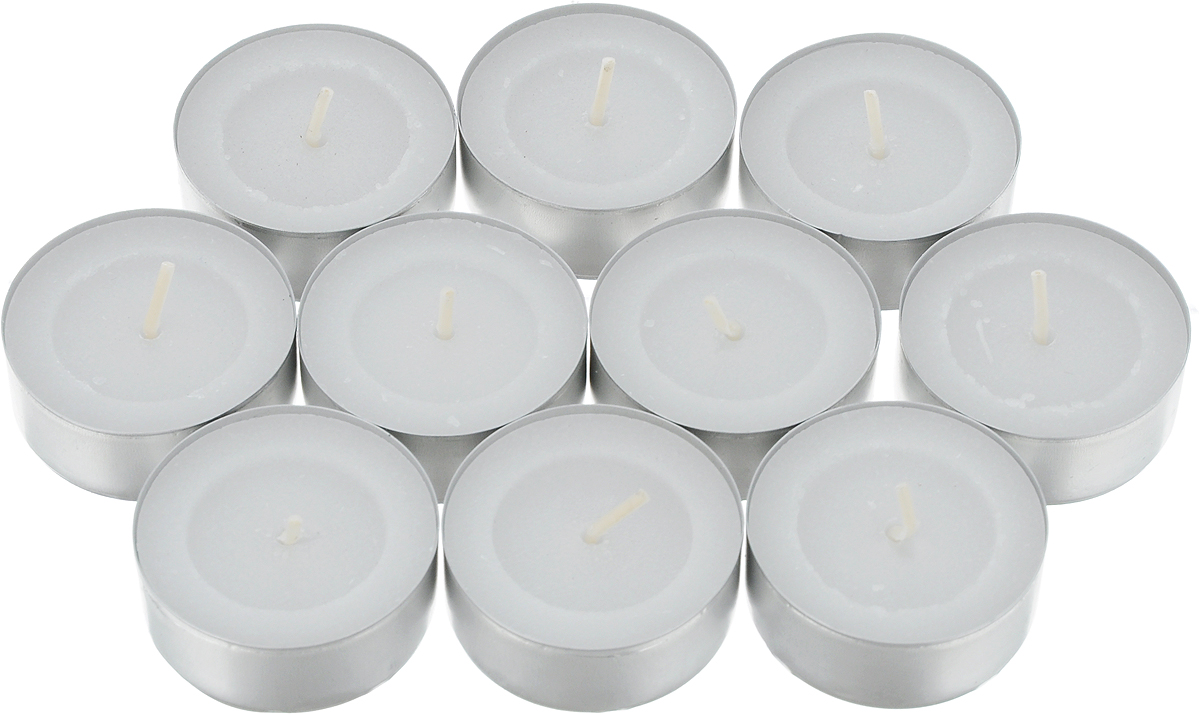 """Набор """"Омский свечной завод"""" состоит из 10 круглых чайных свечей без запаха, изготовленных из парафина и хлопчатобумажной нити. Такие свечи создадут атмосферу таинственности и загадочности и наполнят ваш дом волшебством и ощущением праздника. Хороший сувенир для друзей и близких.  Время горения: не менее 3 часов. Высота: 1,5 см. Диаметр: 3,8 см."""