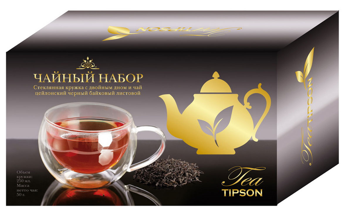 Tipson Подарочный набор Империал №1 черный листовой чай, 50 г + кружка tipson империал 3 чайный набор стеклянный чайник и чай 50 г