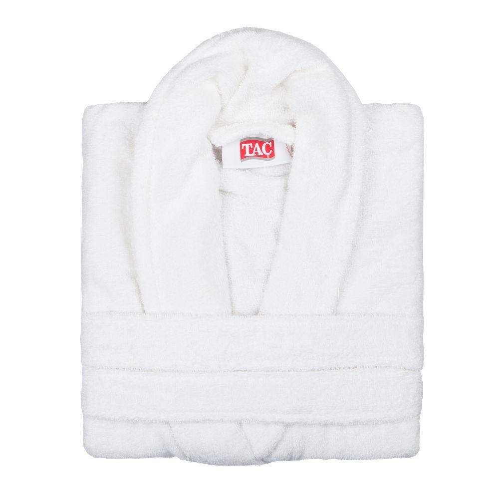 Халат TAC, цвет: кремовый. 2999g-89679. Размер L/XL (48-52)2999-896Халат TAC с воротником шаль выполнен из плотной бархатистой ткани - смеси хлопка и бамбукового волокна. Халат с запахом на поясе имеет два накладных кармана. Отлично впитывает влагу, пропускает воздух и прост в уходе. Удобен как в носке дома постоянно, так и в эксплуатации после приема ванны или душа. Мягкий пояс прилагается.