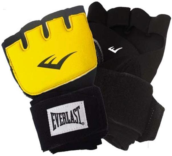 Перчатки гелевые с бинтом Everlast Duster Evergel, цвет: желтый, длина бинта 150 см. Размер S/M перчатки тренировочные everlast mma цвет черный серый 7 унций размер s m